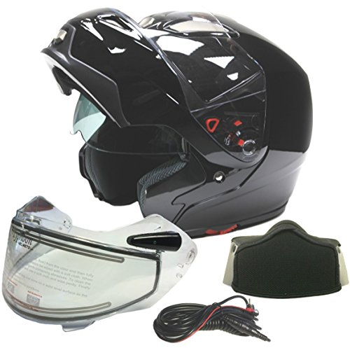 Modular Dual Visor Snowmobile Helmet w/ Electric Heated Shield - Gloss Black ( Large ) Electric Snowmobile Shield