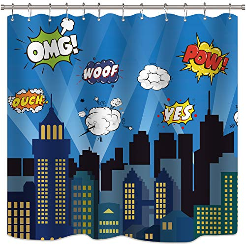 Riyidecor Superhero Shower Curtain Panel Buildings Cityscape City Cartoon Skyline Decor Fabric Polyester Waterproof 72x72 Inch Include 12 Pack Plastic Hooks -