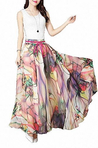 Afibi Women Floral Print Pleated Vintage Chiffon Long Maxi Skirt (Large, S-3) (Chiffon Vintage)