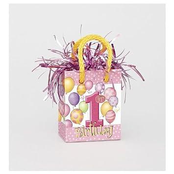 Amazon.com: Primer cumpleaños niña Mini bolsa de regalo peso ...