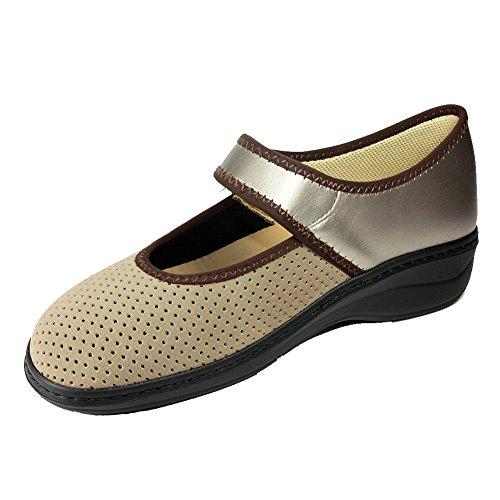 Hergos H 171Pearl Taupe airelast- Orthopädische Schuh bequem für Hallux Valgus–Echt Leder–herausnehmbares Fußbett Taupe