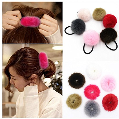 Lovef New Fashion 6 Pcs Sweet Rabbit Faux Fur Fluffy Ball Pom Pom Scrunchies Elastic Ponytail Holder hair rope hair accessories