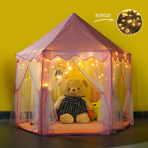 - Future Founder Large Space Princess Castle Play Tent - Pink Kids Tent Playhouse Tent for Girls Indoor Outdoor Play - with 7M Star Lights