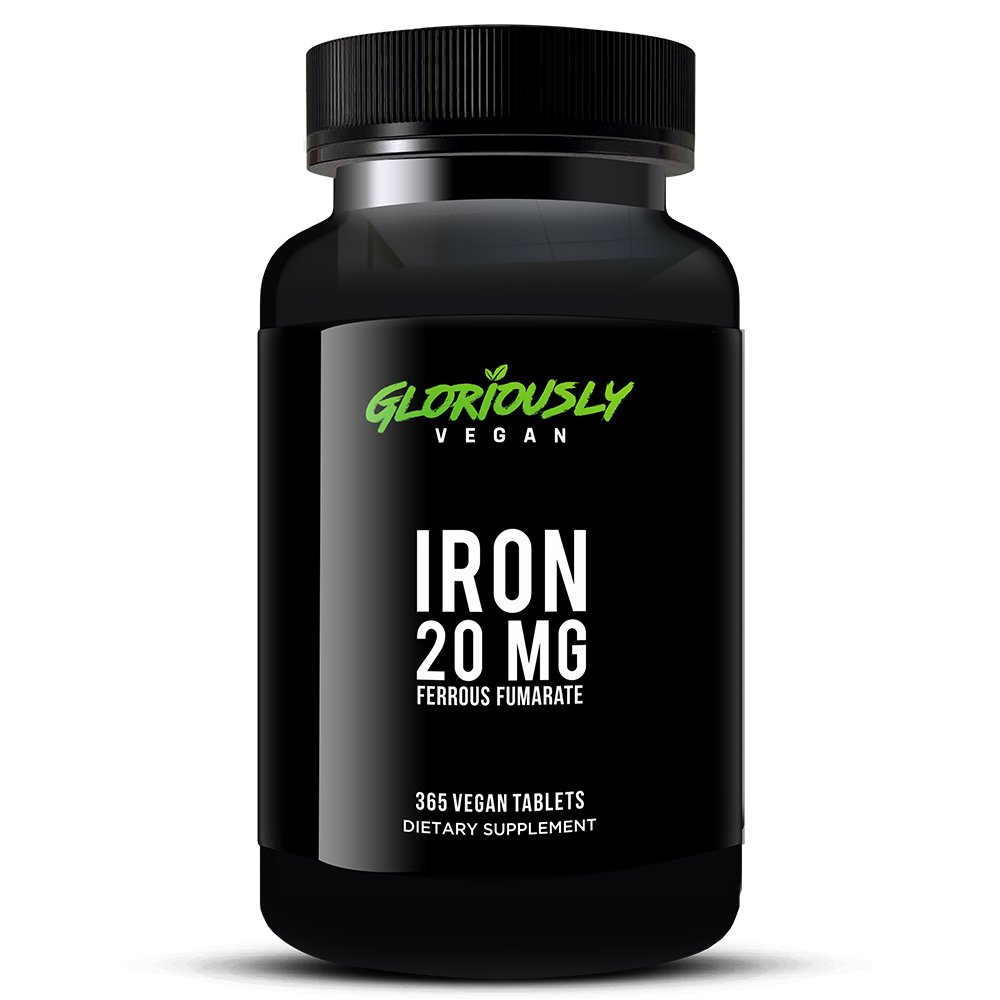 365 Count Vegan Iron Supplement by Gloriously Vegan - 20mg Iron per Serving - MEGA 1 Year Supply!