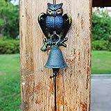 LBYMYB Three-Dimensional owl Wrought Iron doorbell Hand-cranked doorbell Retro Garden Decoration Wall Decoration Crafts 11x9x18.5cm doorbell