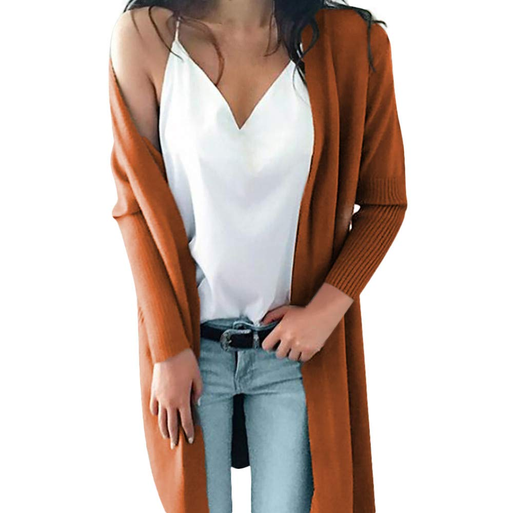 Baigoods Women Winter Long Sleeve Solid Pockets Knitted Long Sweater Coat Tops Blouse Long Outwear