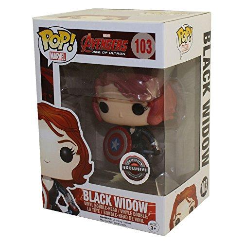 Black Widow with Captain America's Shield (Marvel) Bobble Head Funko Pop! Vinyl Figure by FunKo