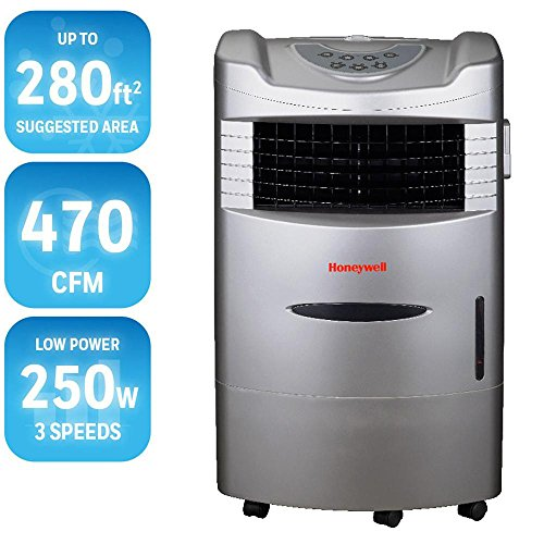 Honeywell 470 CFM 4-Speed Indoor Portable Evaporative Cooler with Remote Control for 280 sq. ft.