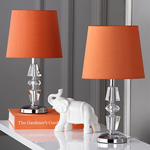 Safavieh Lighting Collection Crescendo Clear and Orange Tiered Crystal 15-inch Table Lamp (Set of 2)