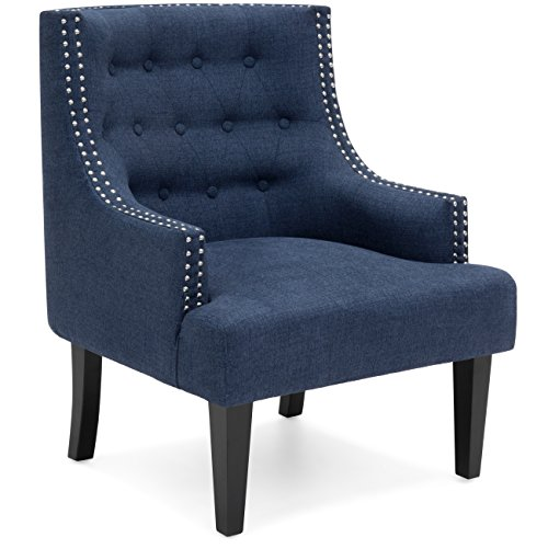 Best Choice Products Tufted Nailhead Detail Soft Cushion Classic Style Accent Chair w/ Black Wooden Legs - Royal - Classic Details