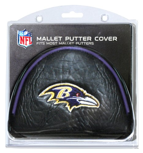 Team Golf NFL Baltimore Ravens Golf Club Mallet Putter Headcover, Fits Most Mallet Putters, Scotty Cameron, Daddy Long Legs, Taylormade, Odyssey, Titleist, Ping, Callaway