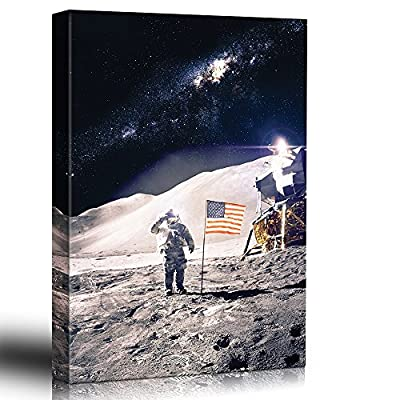 Astronaut in Outerspace Saluting and Adding The USA Flag on The Moon - Canvas Art Home Art - 24x36 inches