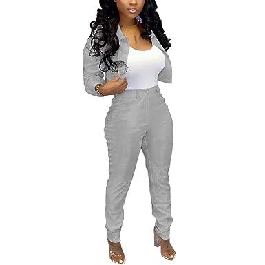Mujer Moda Trajes de Pantalones Set Personalidad Matorral Chaqueta ...