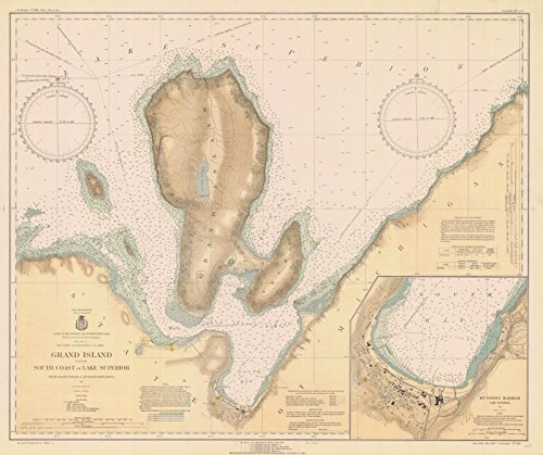 Map - Grand Island South Coast Of Lake Superior, 1932 Nautical NOAA Chart - Vintage Wall Art - 44in x 36in (Superior Lake Depth Chart)