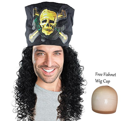 Captain Hook Costumes Wig (Mens Pirate Wig Captain Hook Hair Wigs for Cosplay Costume Party Halloween)