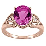 Oval Pink Topaz and Diamond Ring in 10K Rose Gold