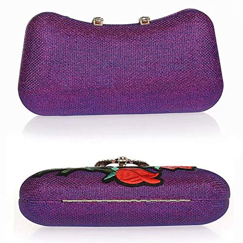 Embrague Flor Cheongsam Moda Púrpura Vestido clutches Bordado Rhinestone Banquete Noche Hebilla Mano Gg Artesanía Bolsa Bolso De 4pwZqa0