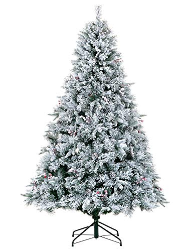 LordofXMAS White Flocked Christmas Tree Pre Lit Artificial 7.5ft with LED ()