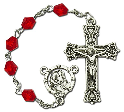 Ruby Silver Crucifix (Catholic Acrylic Beads Holy Rosary, 6mm Beads, Silver Center & Crucifix, Great for Women & Girls)