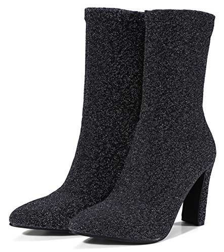 Calf Boots on Pull Sexy High Heel Block Women's Mid Pointed Gray Toe Aisun PnZxv08A