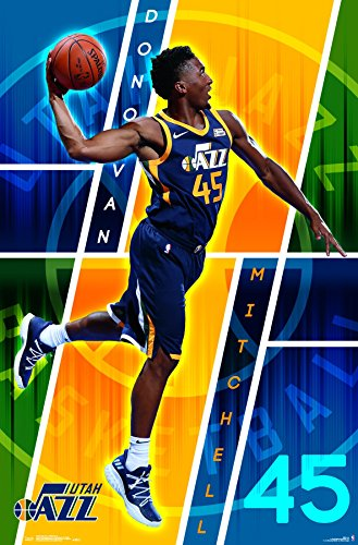"Trends International POD16622 Utah Jazz - Donovan Mitchell Wall Poster, 22.375"" X 34"", Multi"
