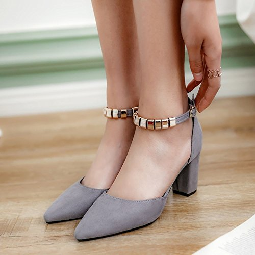 Thick Heels Word Grey Zhudj Shoes Spring Spring Buckle Con Summer Rq6y4pXwcy