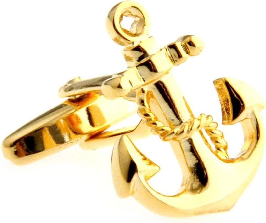 MRCUFF Presentation Gift Box Anchor USN Pair Cufflinks & Polishing Cloth