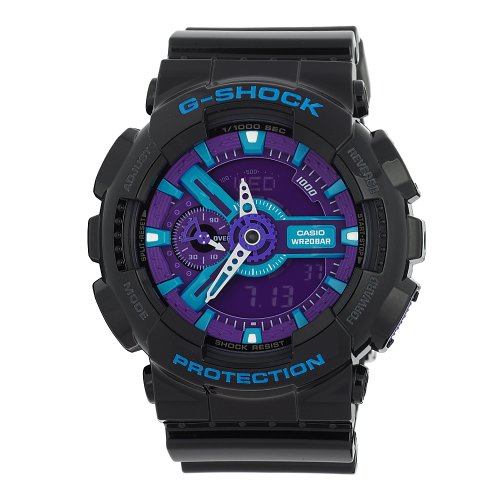 Casio Men's GA110HC-1A  G-Shock Black/Blue/Purple Multi-Function Digital - Casio Large Watch G Shock X