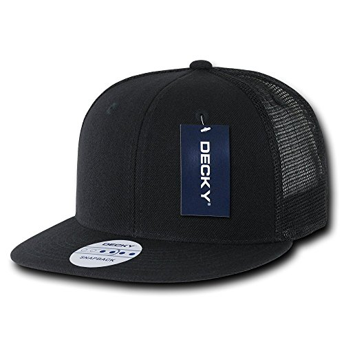 DECKY 6 Panel Flat Bill Trucker Cap, Black
