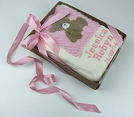 Manta para bebé de peluche rosa personalizada en caja de regalo ...