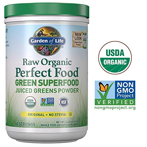 Garden of Life Raw Organic Perfect Food Green Superfood Juiced Greens Powder - Original Stevia-Free, 60 Servings (Packaging May Vary) - Non-GMO, Gluten Free, Vegan Whole Food Dietary Supplement (Life Perfect Food Organic)