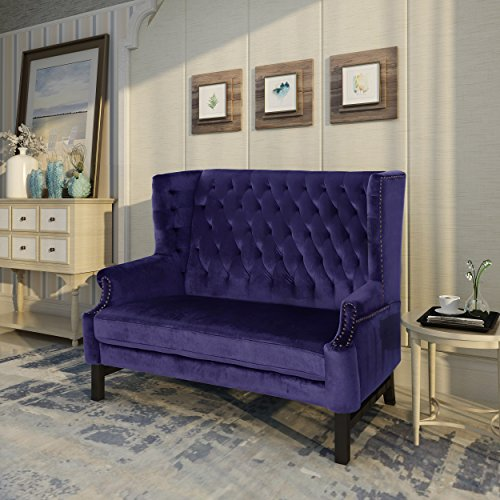 Christopher Knight Home 303836 Nollie High Back Tufted Winged Plum Velvet Loveseat, Dark Brown