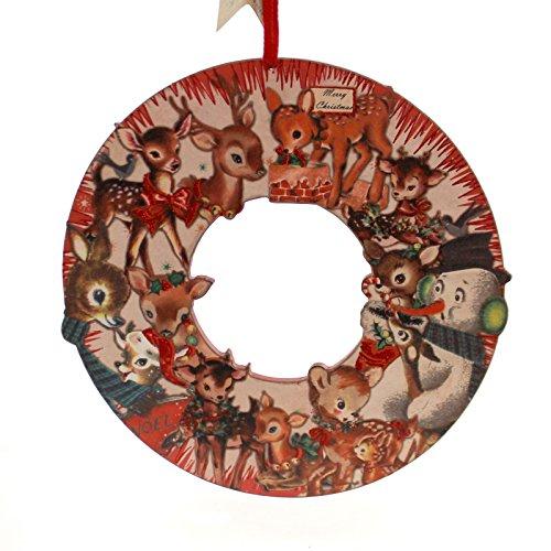 Christmas CHRISTMAS DEER WREATH Wood Snowman Vintage Look 25001 -