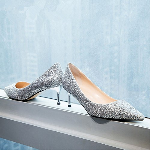 Single Crystal With Autumn HXVU56546 Spring Heels President Fine Shoes Seasons Shoes Silver The High New And xxq7wtv