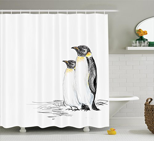 Ambesonne Animals Decor Shower Curtain Set, Hand Drawn Style Art Penguins Aquatic Flightless Birds Polar South Pole Wildlife, Bathroom Accessories, 75 Inches Long, Black White