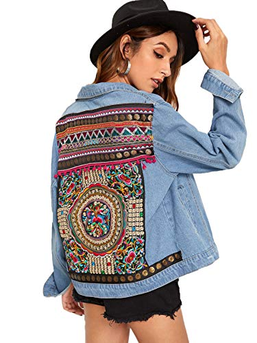Floerns Women's Ethnic Embroidered Ripped Casual Long Sleeve Denim Jacket Multi L