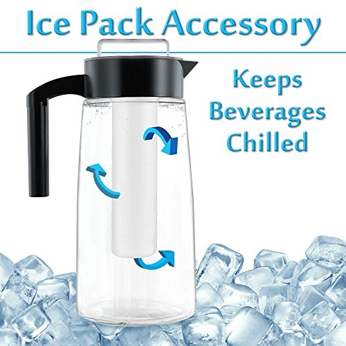 Cooking Upgrades 60oz Glass Cold Brew Coffee Maker and Tea Maker With Ice And Fruit Infuser Inserts Included (Black) by Cooking Upgrades (Image #6)