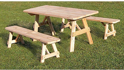 A & L Furniture Co. Western Red Cedar 6' Traditional Table w/2 Benches - Specify for Free 2