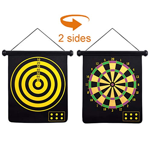 Long game 15″ 2-Sided Magnetic Dart Board Sets with 6 Safety Darts for Kids and Adults Family Leisure Sports