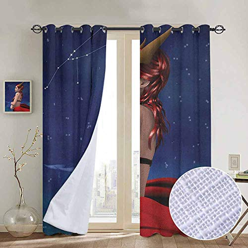 - NUOMANAN Blackout Curtain Panels Window Draperies Astrology,Taurus Girl with Horns Maleficent Zodiac Stars Venus Beauty Graphic Design, Navy Red Brown,for Bedroom, Kitchen, Living Room 84