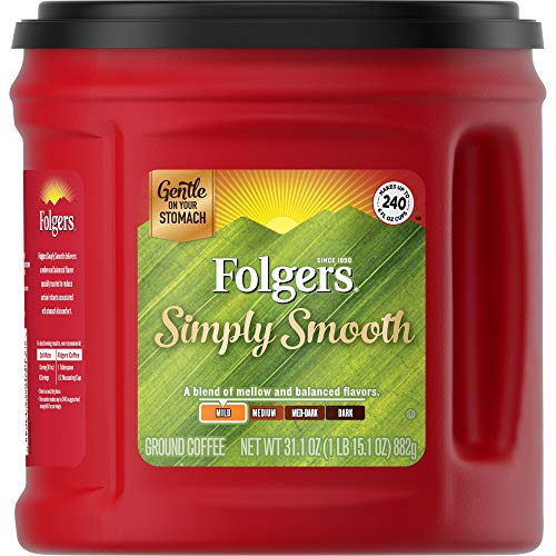 Folgers Simply Smooth Ground Coffee, Medium Roast, 31.1 Ounce, Packaging May Vary