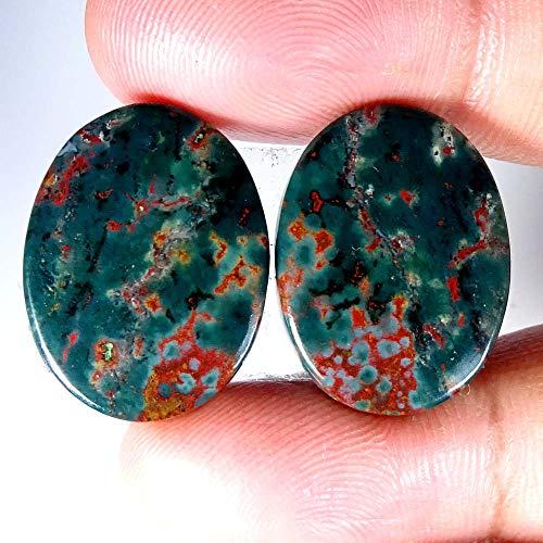 GEMSCREATIONS 41.40Cts 100% Natural Designer Blood Stone Oval Pair Cab Loose Gemstone