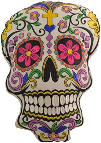 Watch Box Depot Sugar Skull Throw Pillow Detailed with Colors Embroidered Decorative Gift