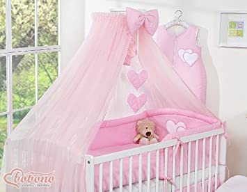 NEW BEAUTIFUL LARGE PINK CANOPY MOSQUITO NET DRAPE WITH Decorative BOW HEARTS