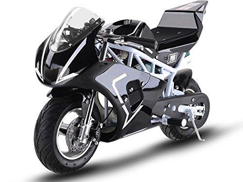 MotoTec 36v 500w Electric Pocket Bike GP Version, THREE large 12v batteries, White