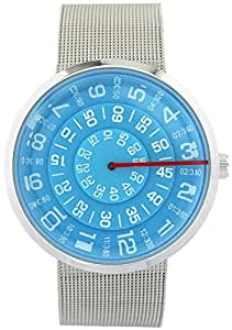 YouYouPifa Unisex Special Design Dial Stainless Steel Quartz Business Wrist Watch (Blue)