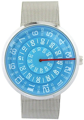 YouYouPifa Unisex Special Design Dial Stainless Steel Quartz Business Wrist Watch (Blue) (Stainless Steel Wrist Watch compare prices)