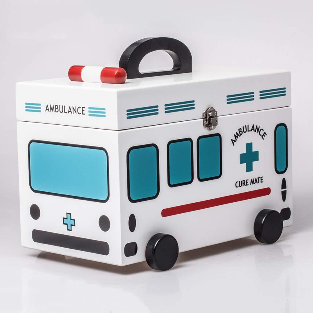 B07K41XW1R PLLPLL 家庭用木製青色の医学の箱子供の医学の収納ボックス応急処置のキット医療のボックスの家族小文字の箱 B07K41XW1R, 備前焼とグルメの店七-nana-:037f285a --- mail.tastykhabar.com