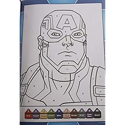 Activity Books Avengers Color by Number 48 Pages: Toys & Games