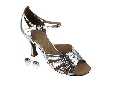 87efee868ea4dd Very Fine Ladies Women Ballroom Dance Shoes EKSA1680 Silver Leather 3 quot   ...